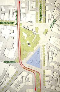 Die Idee: autofreier Kö dank Schaezlerstraße mit Gegenverkehr
