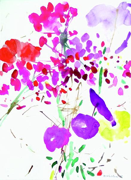 Oskar Koller: Blumenfenster, 2003, Aquarell