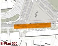 Die Rampe aus dem Tunnelplan von 2006 hätte im B-Plan 500 nicht Platz (zum Anzeigen der Animation anklicken)