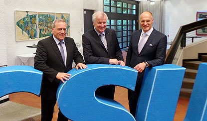 Hauptakteure bei Neujahrsempfang der CSU: Johannes Hintersberger, Horst Seehofer und Kurt Gribl (v.l.)