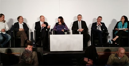 Das Podium: Tobias Walter, Bruno Marcon, Kurt Gribl, Silvia Lautenbacher (Moderation) Klaus-Peter Dietmayer, Ulrich Maly, Marianne Weiß