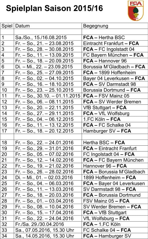 Bundesliga Fca Startet Mit Heimspiel Gegen Berlin Die Augsburger