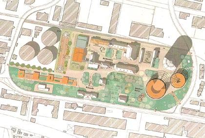 Letzer Planungstand mit Theaterspielstätte und Parkhaus (Grafik: Stadt Augsburg)