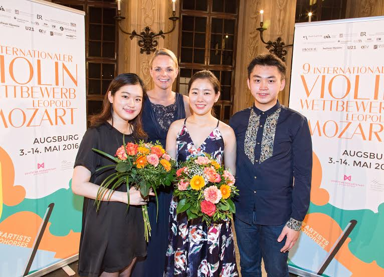 Jae Hyeong Lee (3. Preisträgerin / Südkorea), Annekatrin Schnur (moderierte den Abend / BR Klassik), Ji Won Song (1. Preisträgerin / Südkorea) und Ziyu He (2. Preisträger / China).