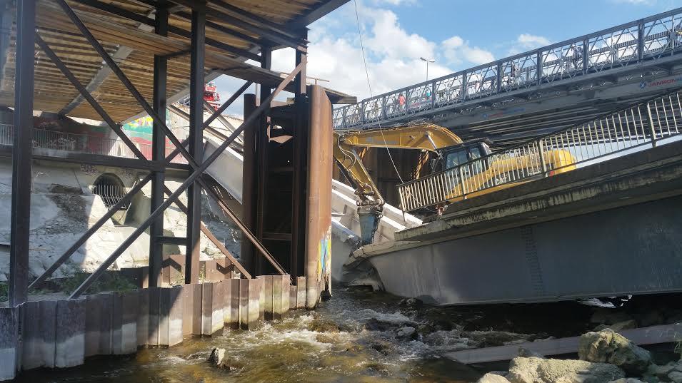Eingestürzte Ackermannbrücke