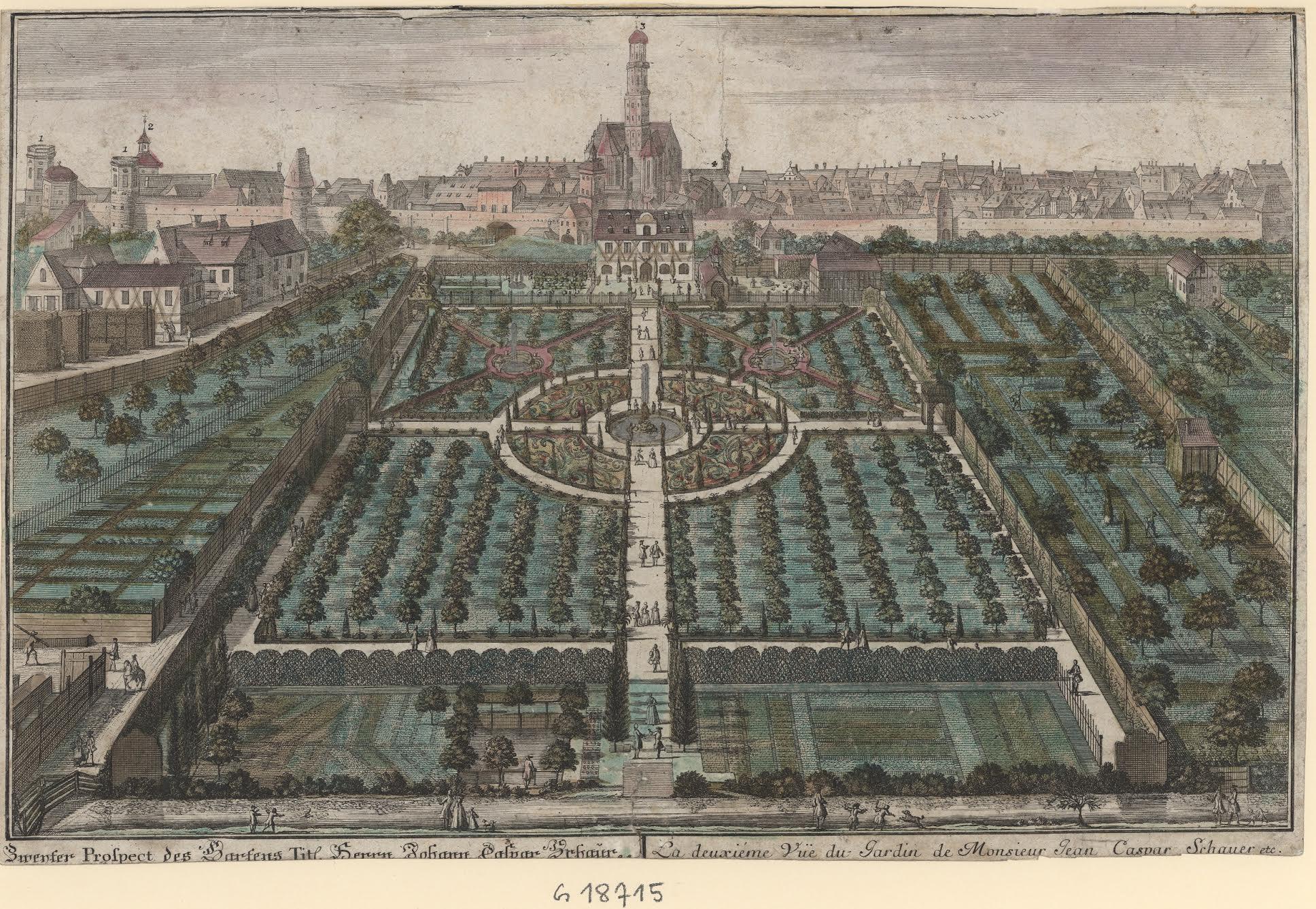 Foto: Carl Remshart (1678–1735): Schauerscher Garten nach Westen, Kolorierter Kupferstich. (c) Städtische Kunstsammlungen