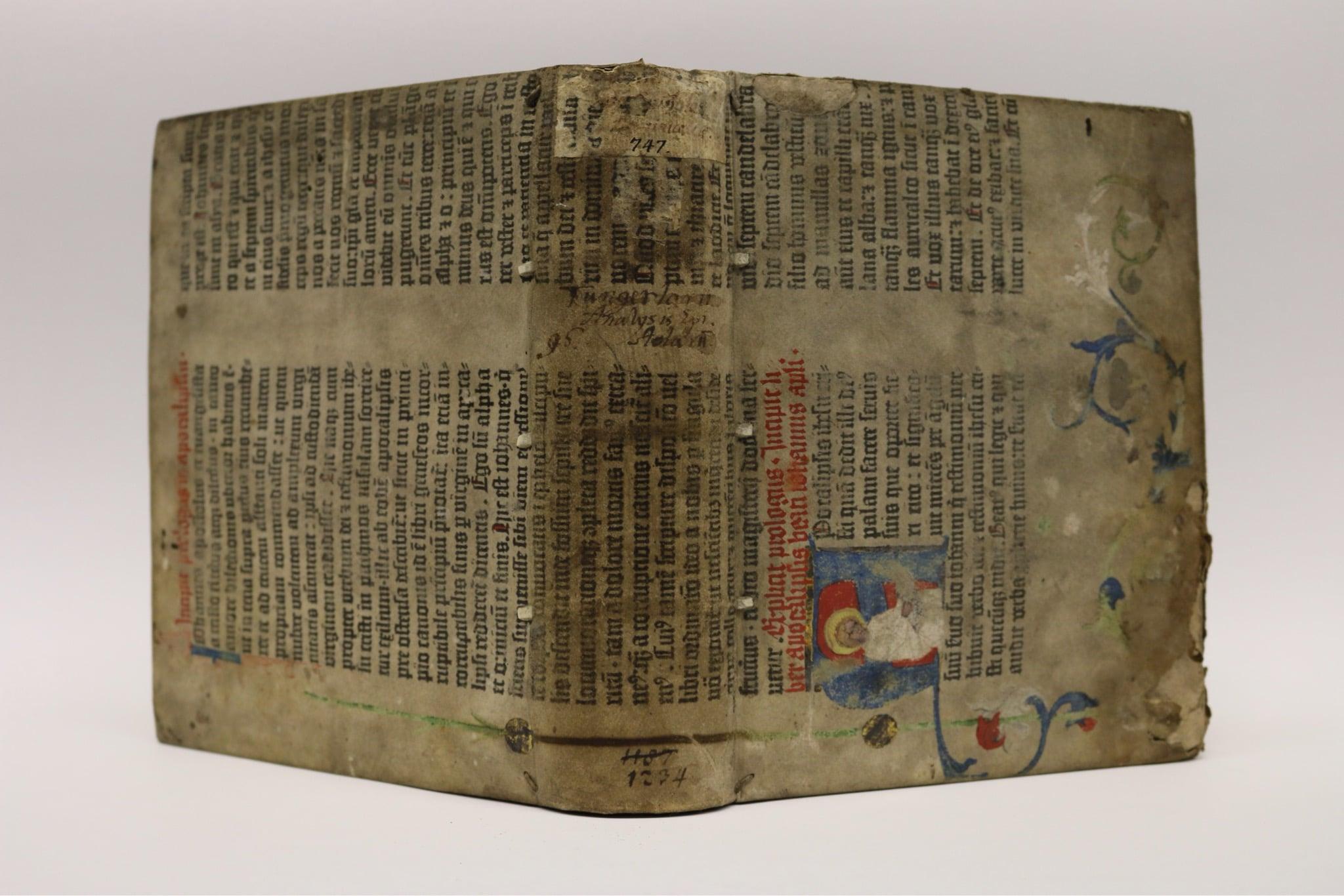 Seltener Fund:illuminiertes Pergament-Blatt einer Gutenberg-Bibel (c) Staats- und Stadtbibliothek Augsburg