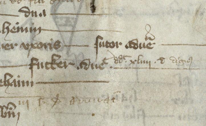 Ausschnittvergrößerung des Eintrags im Steuerbuch von 1367 über die Ankunft von Hans Fugger als erstem Fugger in Augsburg. Quelle: Stadtarchiv Augsburg