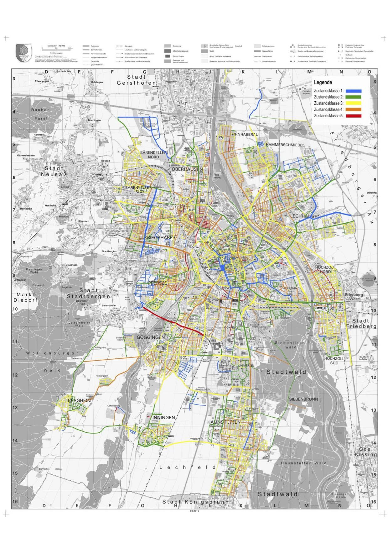 Rot bedeutet akut sanierungsbedürftig, blau markiert den bestmöglichen Zustand. Grafik: Stadt Augsburg