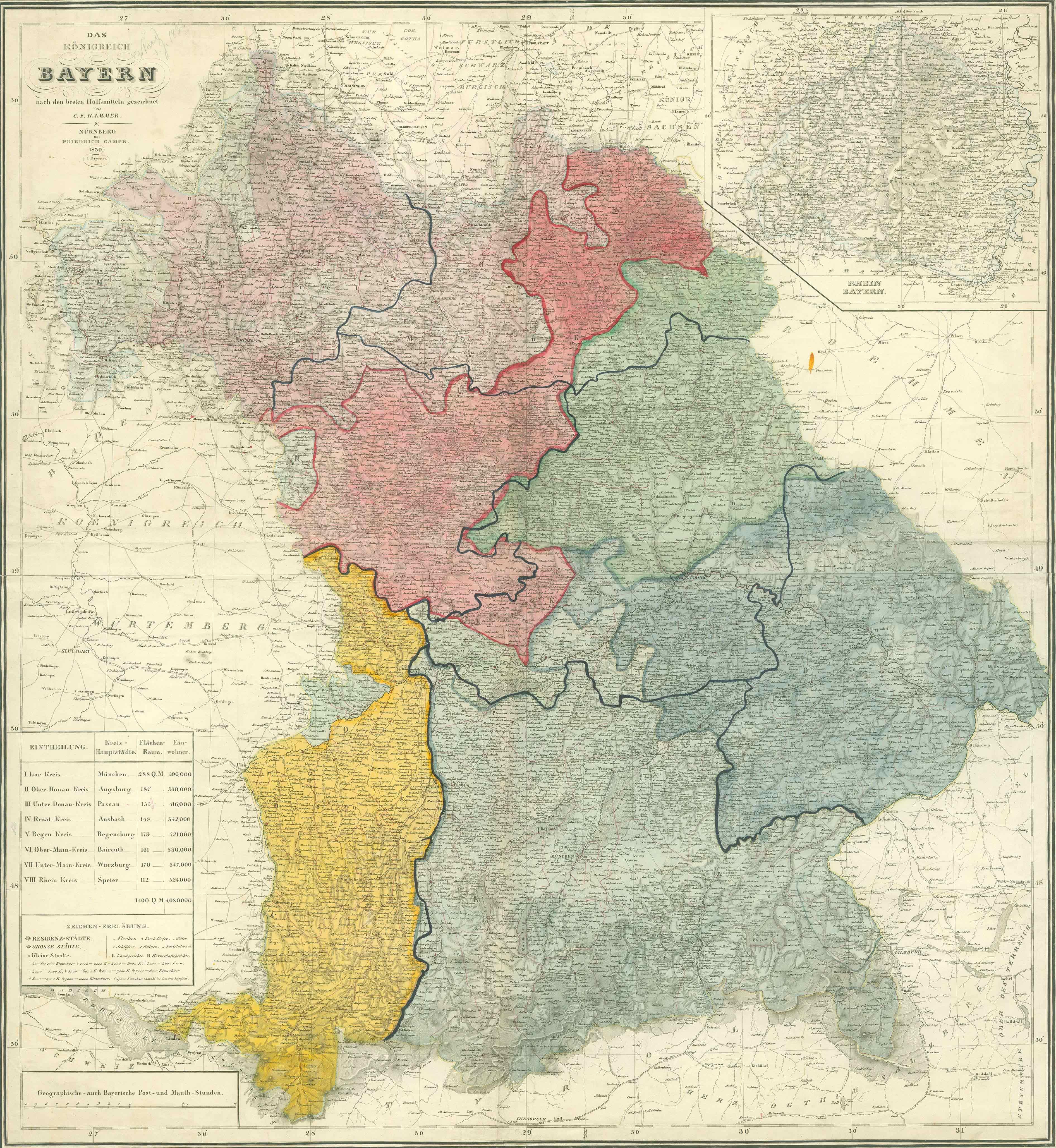 Historische Karte: Königreich Bayern