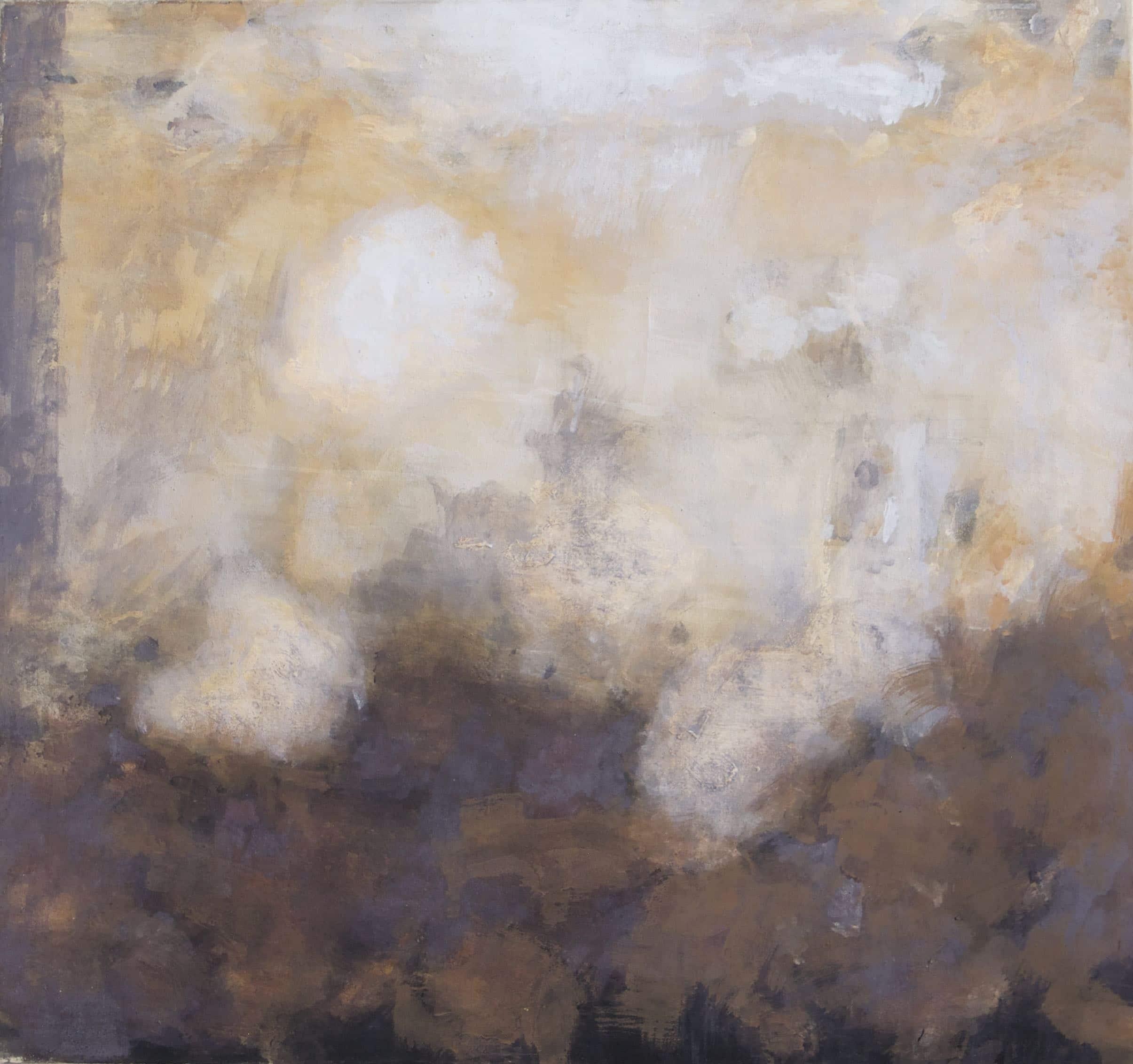 Manfred Jacob Vogt, aus der Serie Nuvola 2016, Pigmente auf Maltuch, 80 x 75 cm © Manfred Jacob Vogt